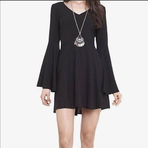 Express black fit & flare mini dress with bell sleeves Sz 4